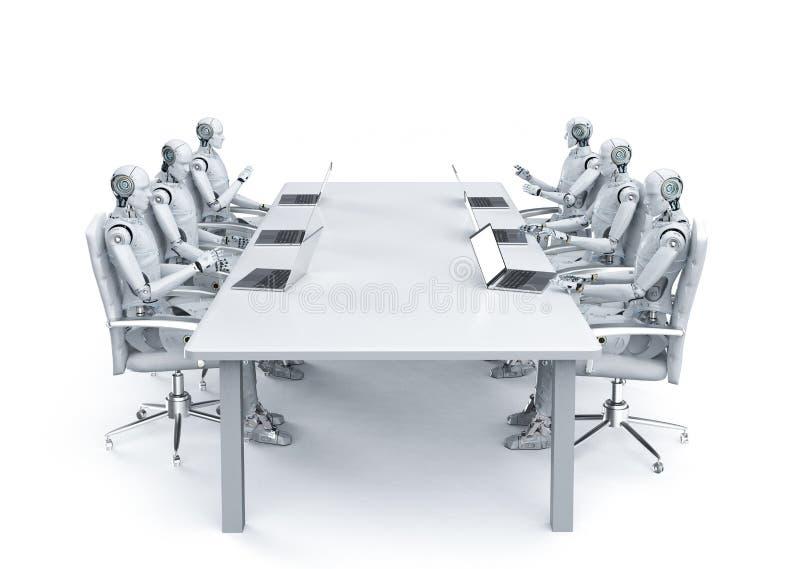 机器人与膝上型计算机一起使用 向量例证
