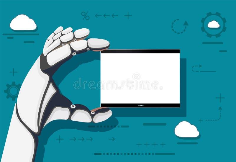 机器人举行在他的手上有一个白色屏幕的技术设备 皇族释放例证
