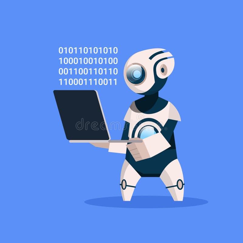 机器人举行在蓝色背景概念现代人工智能技术的膝上型计算机编制程序 向量例证