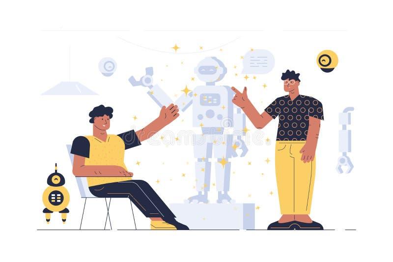 机器人介绍的人 库存例证