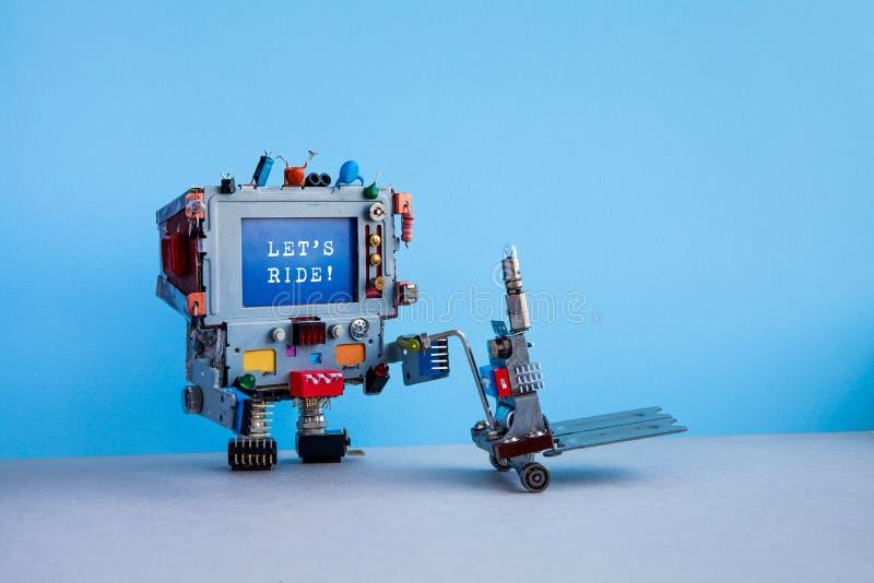 机器人传讯者计算机和消息让乘驾 送货服务自动化后勤指导方针 机器人移动的手推车 免版税库存图片