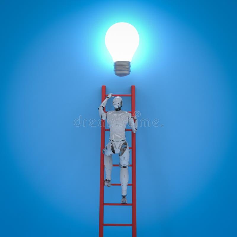 机器人伸手可及的距离电灯泡 向量例证