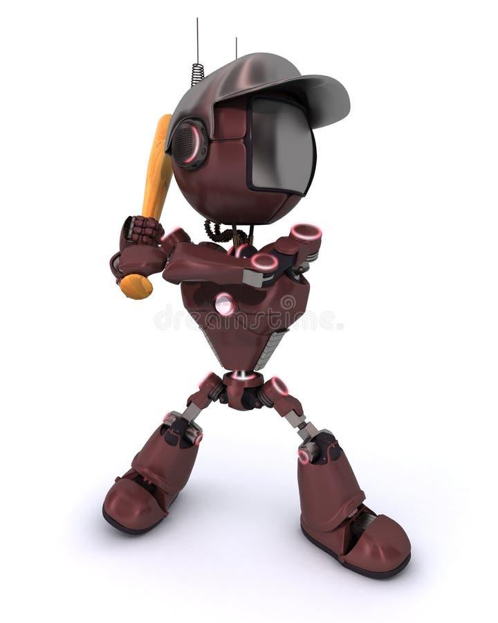 机器人使用的棒球 皇族释放例证