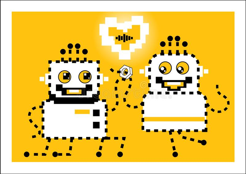 机器人做提议手和心脏 爱 库存例证
