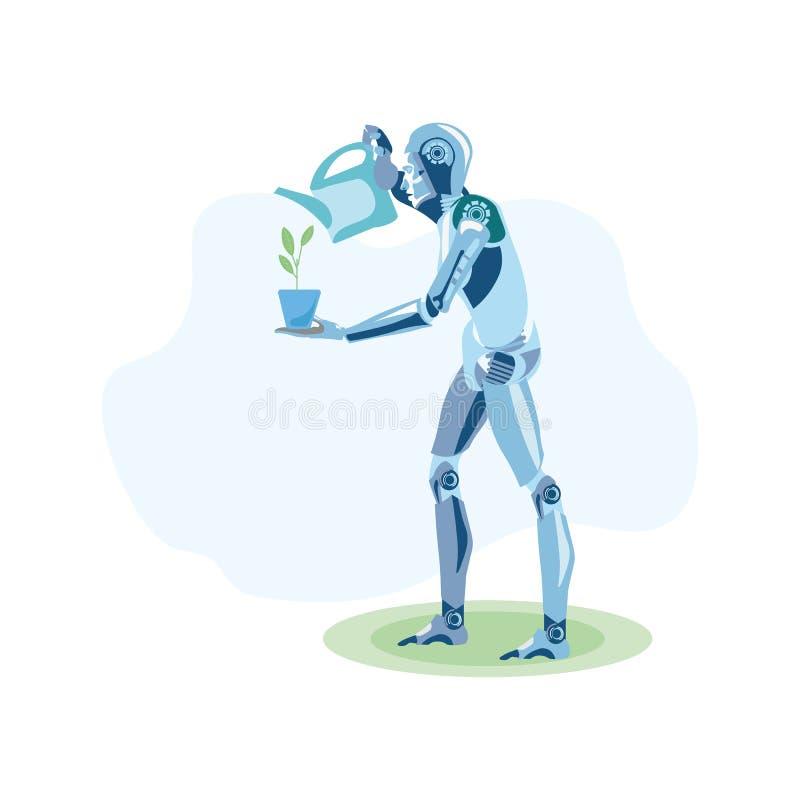 机器人农夫增长的厂平的例证 向量例证