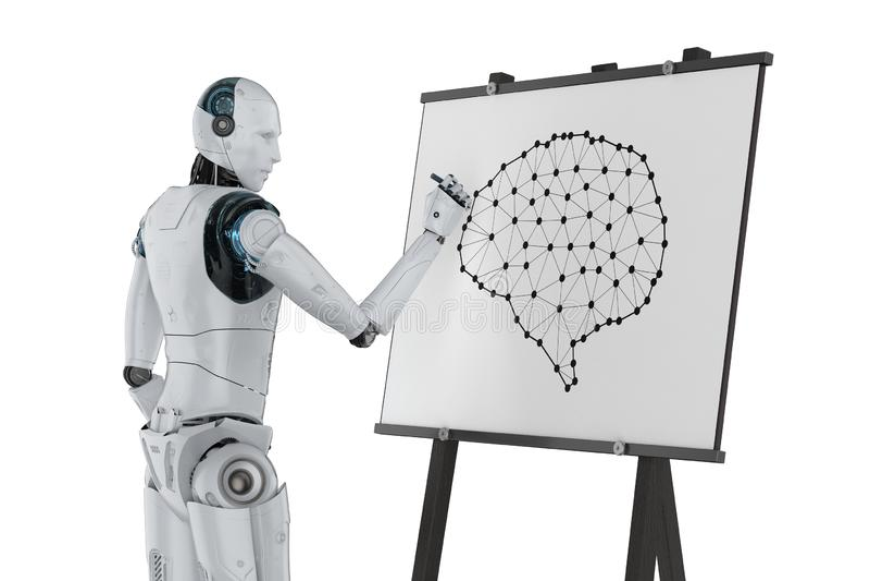 机器人凹道ai脑子 库存例证