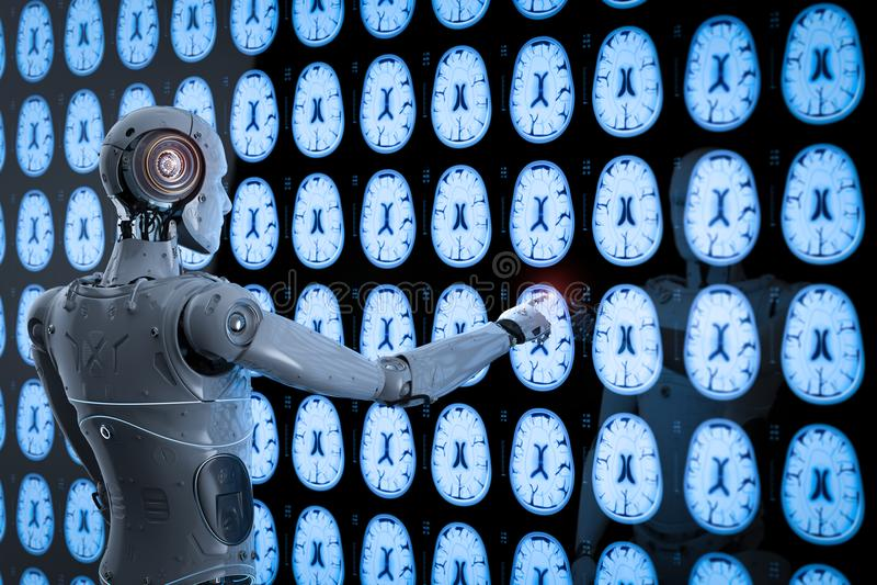机器人分析X-射线脑子 库存例证
