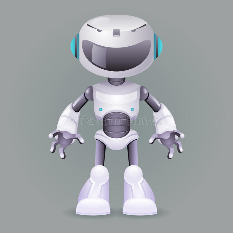 机器人创新技术科幻未来逗人喜爱的小的3d设计传染媒介例证 皇族释放例证