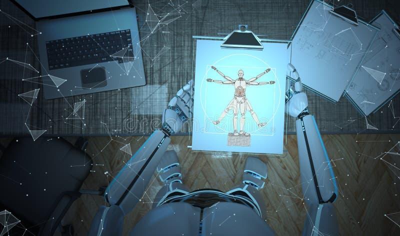 机器人剪贴板达芬奇 皇族释放例证