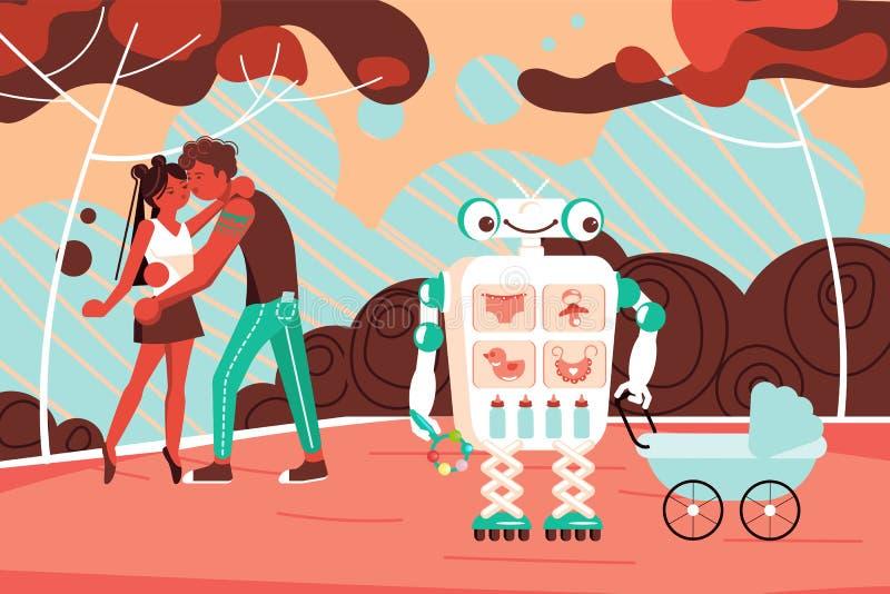 机器人助理走与一个婴孩在公园 皇族释放例证
