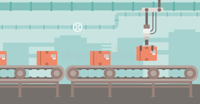 机器人包装的传送带 向量例证