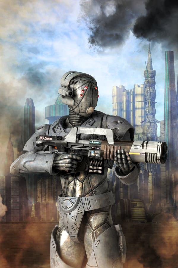 机器人单位重的警官歹徒 皇族释放例证