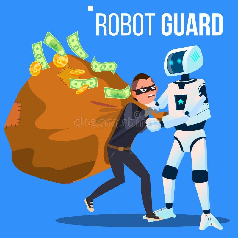 机器人卫兵捉住了面具的窃贼与他的手传染媒介 按钮查出的现有量例证推进s启动妇女 皇族释放例证