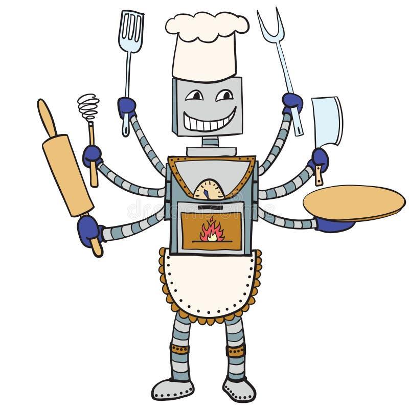 机器人厨师图画 向量动画片 库存例证