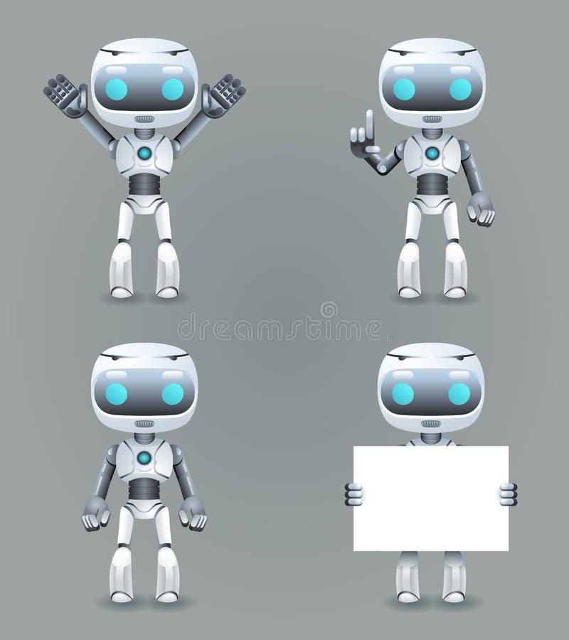 机器人另外姿势创新技术科幻未来逗人喜爱的小的3d象布景传染媒介例证 库存例证