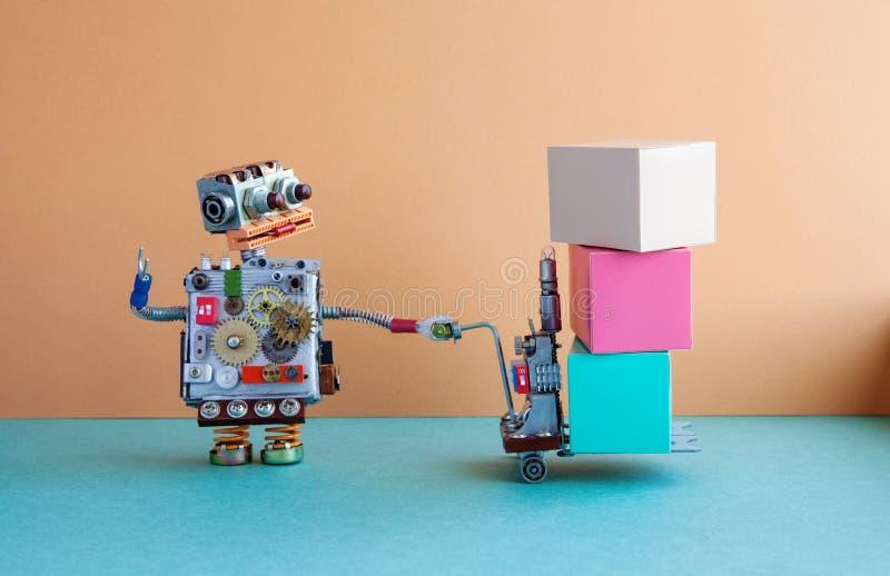 机器人后勤送货业务概念 有供给动力的板台起重器的机器人移动的大容器 铲车推车机制 库存图片