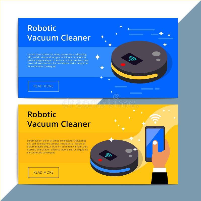 机器人吸尘器电视节目预告网横幅广告 Robovac促进广告 向量例证