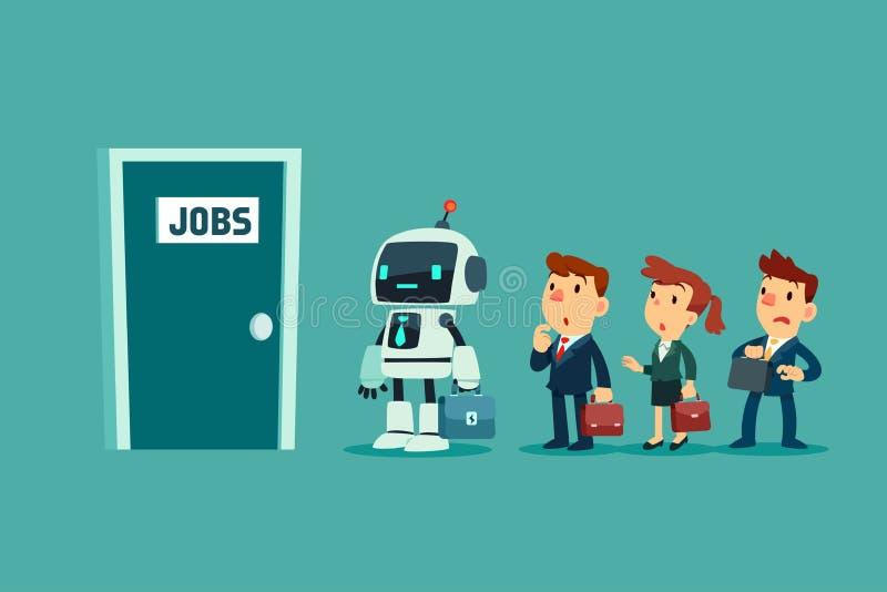 机器人和一群商人排队等待面试 库存例证