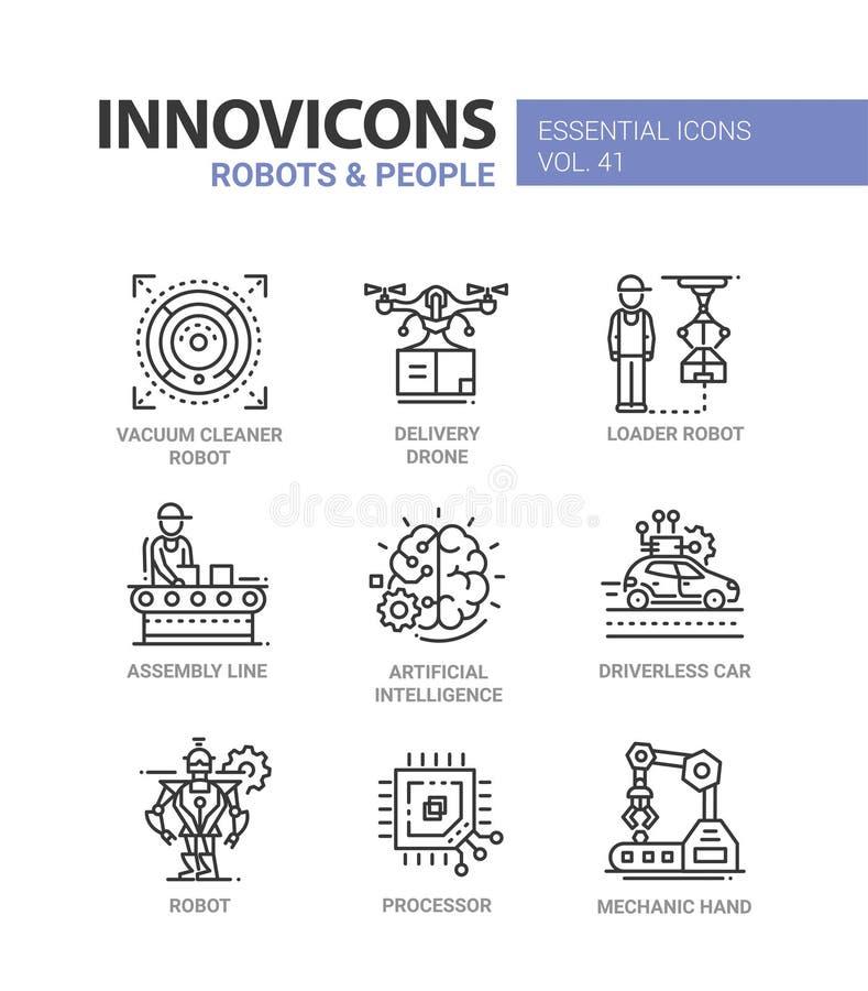 机器人和人们-现代传染媒介线被设置的设计象 库存例证