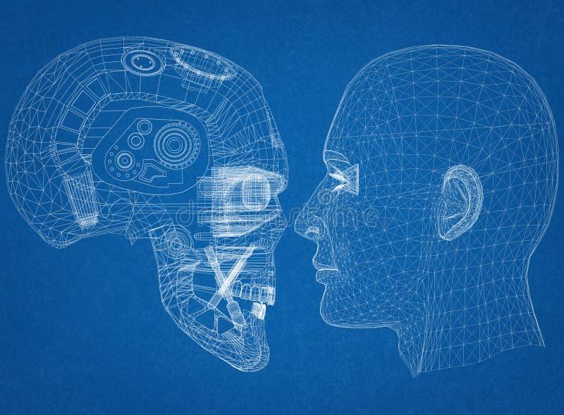 机器人和人头设计-建筑师图纸 皇族释放例证