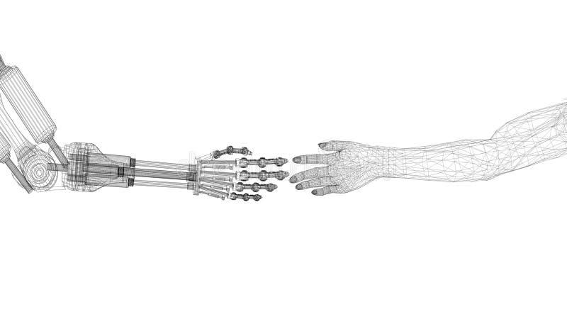 机器人和人的手设计-建筑师图纸-隔绝 向量例证