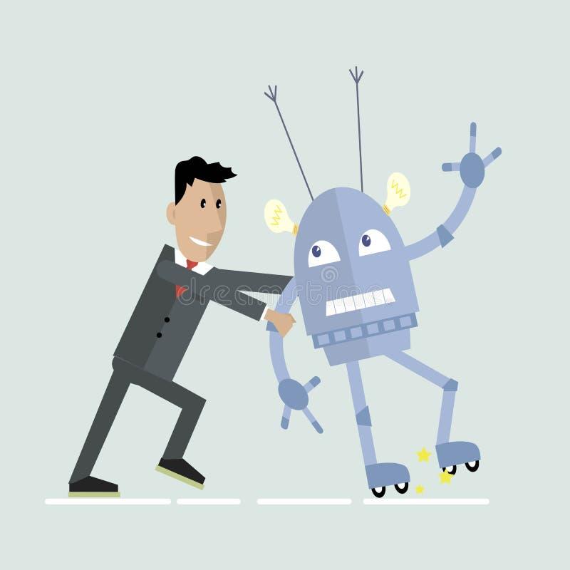机器人和人的竞争 库存例证