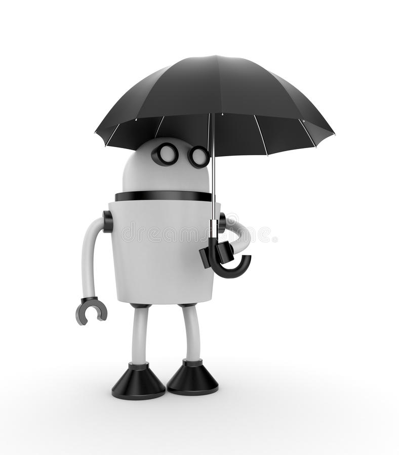 机器人和伞 库存例证