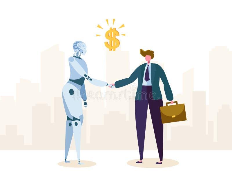 机器人和商人由握手签署关于合作的协议 Ai字符伙伴帮助企业自动化 皇族释放例证