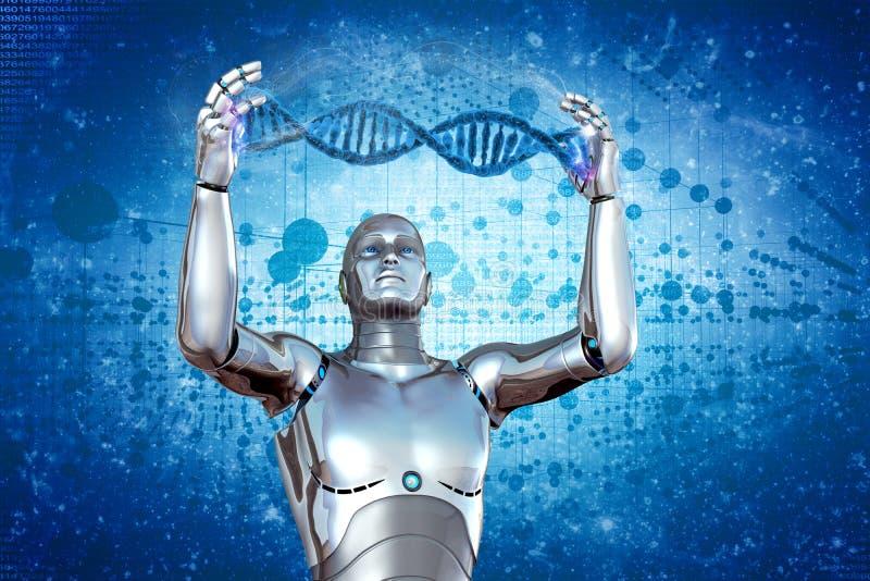 机器人和脱氧核糖核酸 库存例证