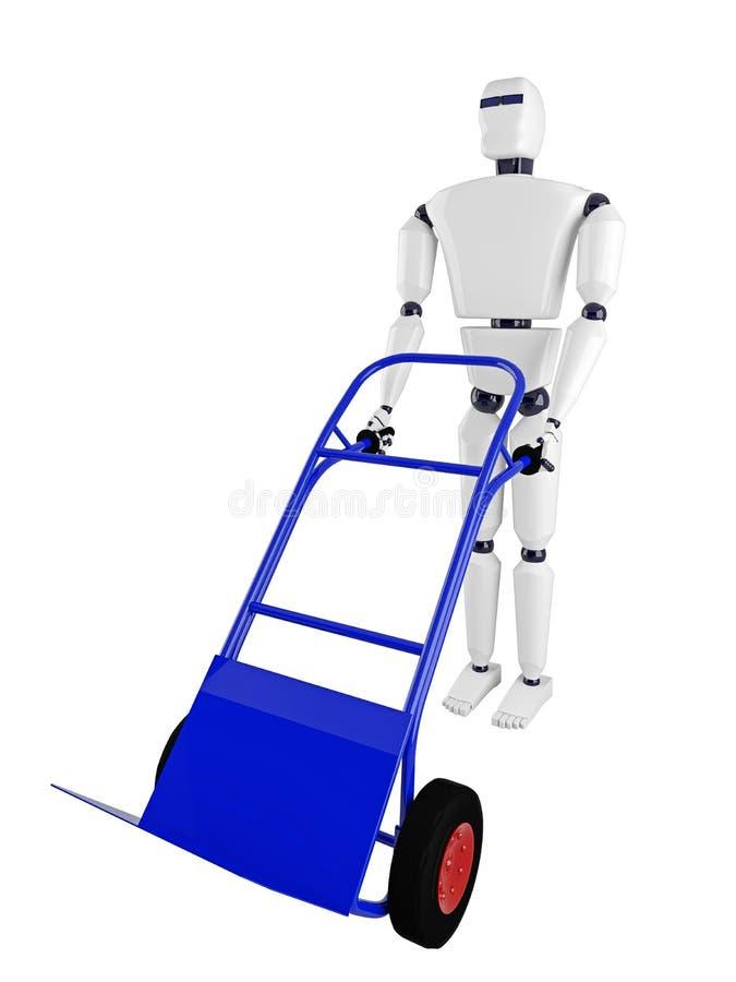 机器人和蓝色手推车 向量例证