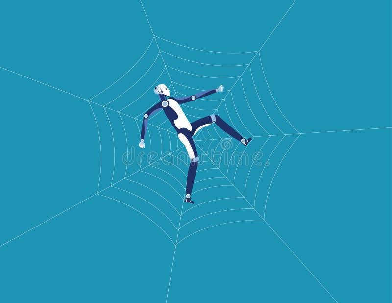 机器人和蜘蛛网 r r 向量例证