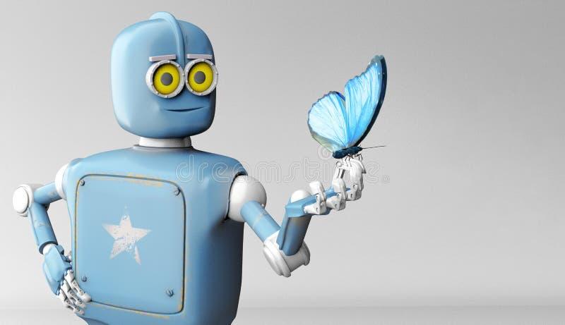 机器人和蝴蝶在手边蓝色背景 减速火箭的玩具和自然 库存例证