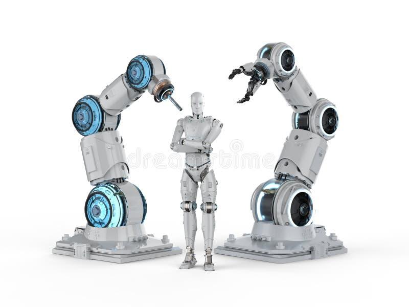 机器人和靠机械装置维持生命的人 皇族释放例证