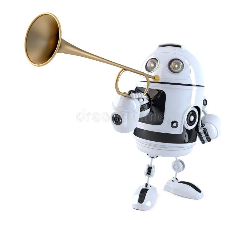 机器人喇叭演奏员 概念查出的技术白色 3d例证 库存例证