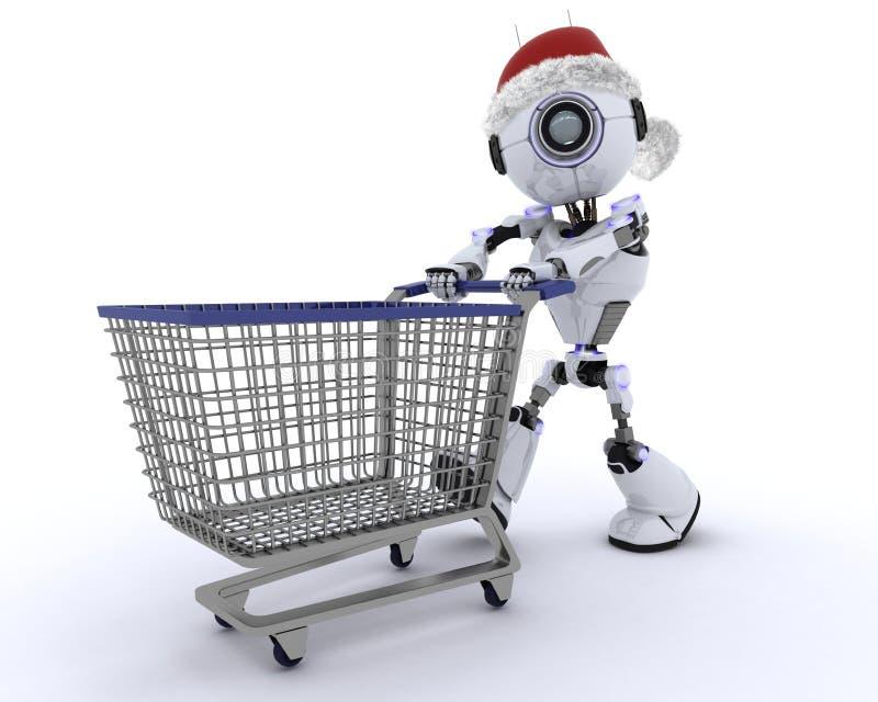 机器人圣诞节购物 向量例证