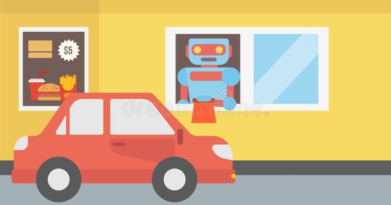 机器人在一家快餐餐馆运转 皇族释放例证