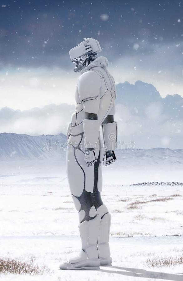 机器人在冬天 向量例证