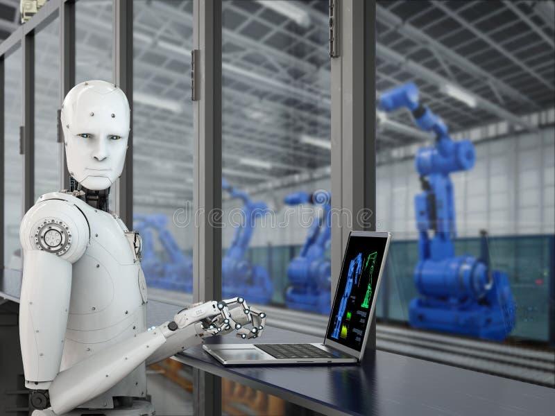 机器人在工厂 免版税库存照片