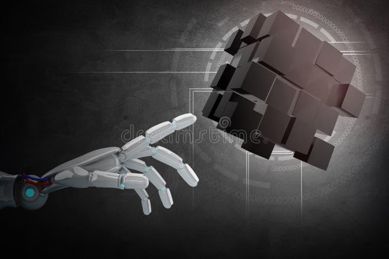 机器人在建筑的手点从立方体 3d翻译 皇族释放例证
