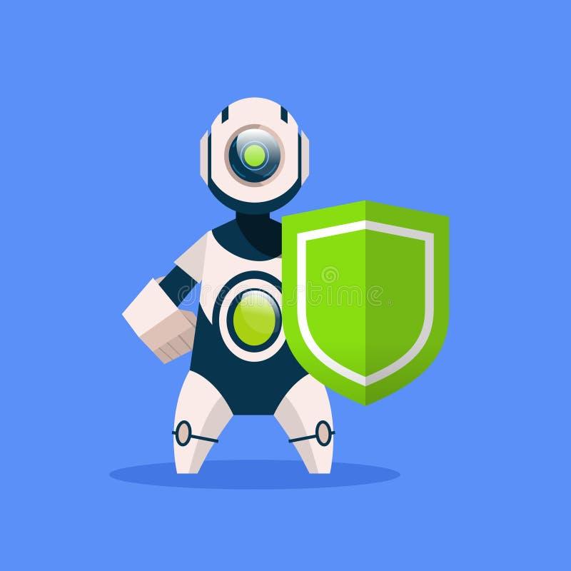 机器人在蓝色背景概念现代人工智能保护技术隔绝的举行盾 向量例证