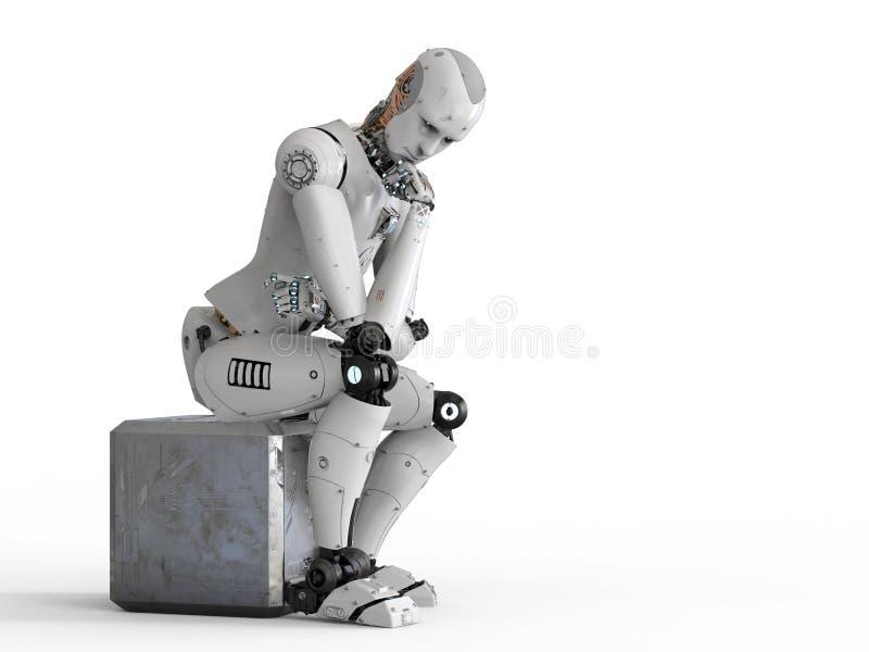 机器人坐下和认为 向量例证