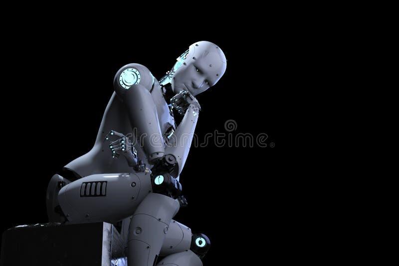 机器人坐下和认为 库存例证