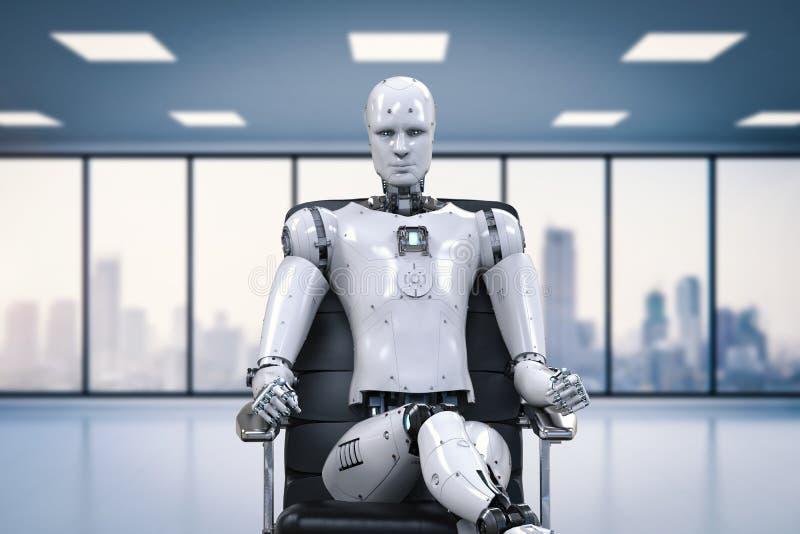 机器人坐办公室椅子 皇族释放例证