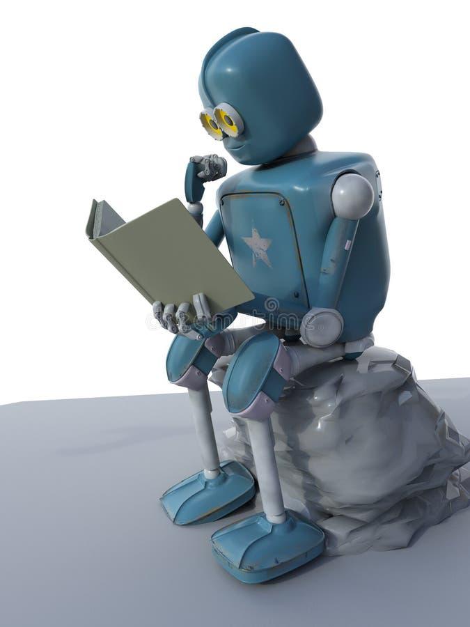机器人坐石头并且读书 3d ?? 库存例证