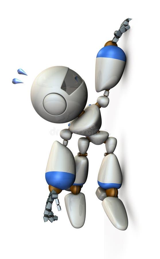 机器人垂悬与他的垂悬在墙壁上的手指 皇族释放例证