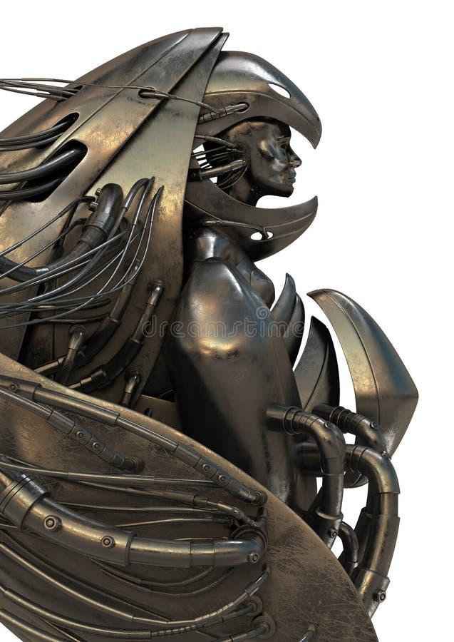 机器人天使的金属 库存例证