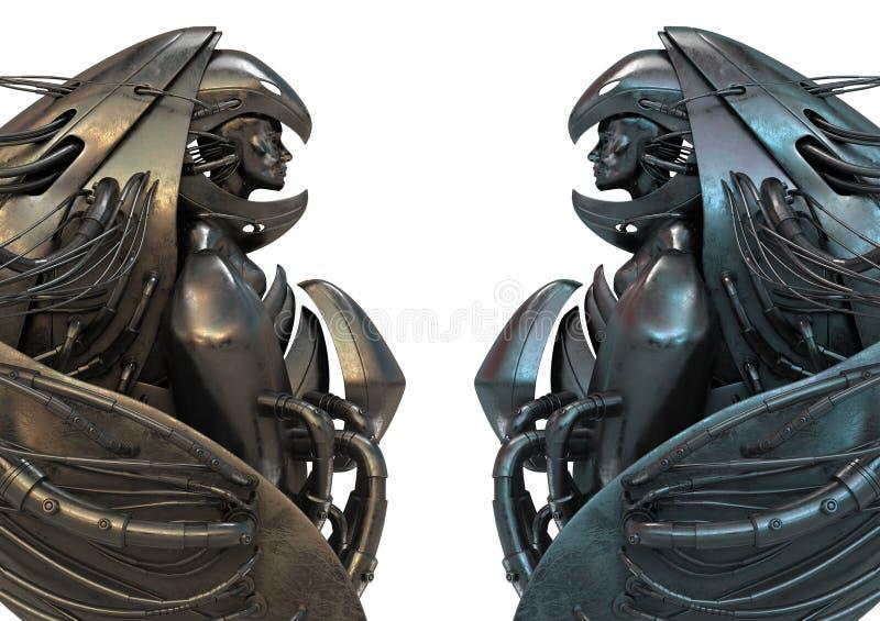 机器人天使的金属 向量例证