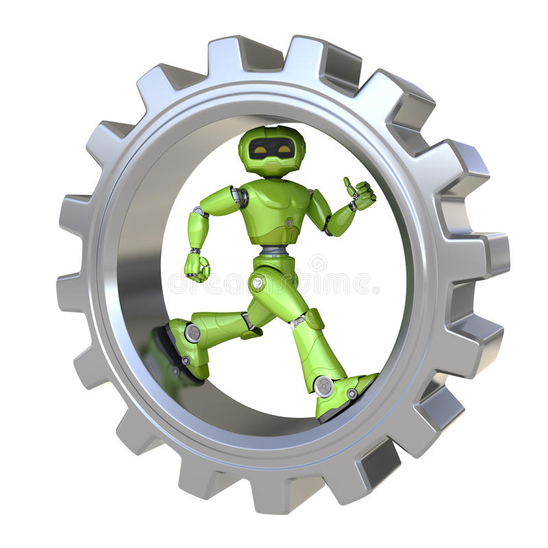 机器人奔跑里面齿轮 皇族释放例证