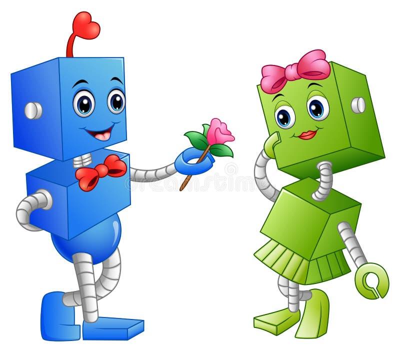 给机器人女孩的机器人男孩一朵花 向量例证
