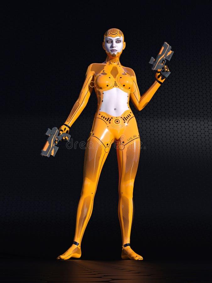 机器人女孩,女性人的靠机械装置维持生命的人在黑科学幻想小说环境, 3D里例证 向量例证